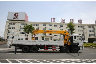 Dongfeng tianland 8X4 straight crane truck with ladder mounted crane in China